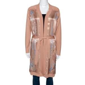 Hermes Peach Parure De Gala Print Cashmere & Silk Belted Cardigan S