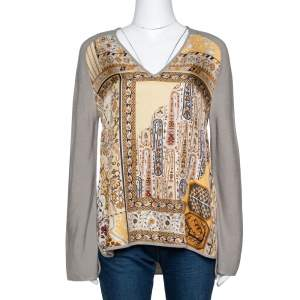 Hermes Grey Alpaca & Silk Floral Print Paneled Sweater M