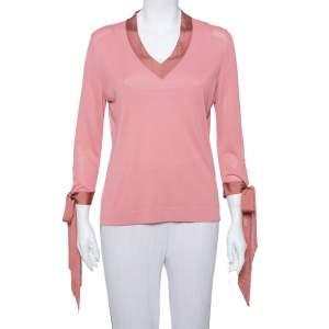 Hermes Pink Knit Sleeve Tie Detail Top L