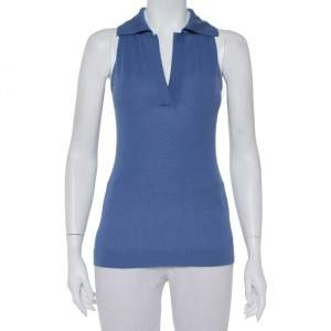 Hermès Blue Cashmere Sleeveless Polo T-Shirt S