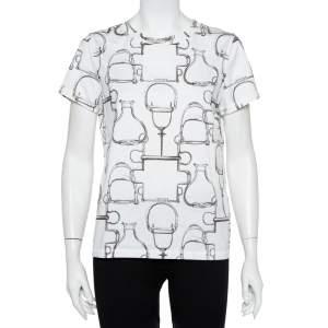 Hermes White Saddle Printed Cotton Crewneck T-Shirt XL