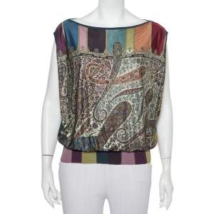 Hermes Multicolor Paisley Printed Knit & Cashmere Oversized Sleeveless Top S