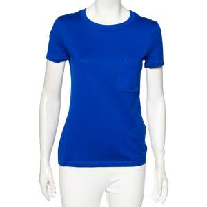 Hermes Blue Cotton Embroidered Pocket Detail Straight Fit T-Shirt S