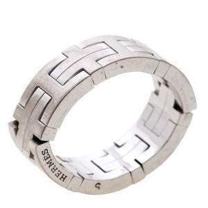 Hermes Kilim H Motif 18k White Gold Band Ring Size 51