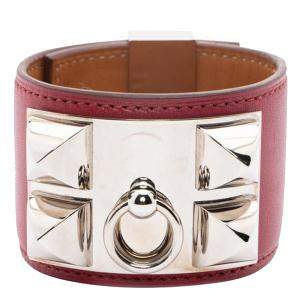 Hermes Red Leather Collier De Chien Bracelet