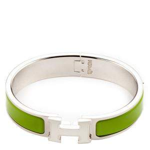 Hermes Green Steel Narrow Clic H Bracelet