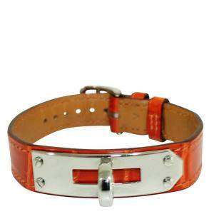 Hermes Orange Crocodile Leather Kelly Bracelet