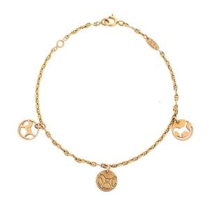 Hermès Three Rocking Horse Disc 18k Rose Gold Charm Bracelet