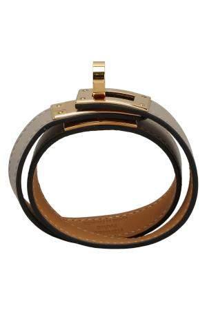 Hermes Grey Leather Kelly Double Tour Bracelet