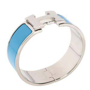 Hermes Blue Enamel Clic Clac H Bracelet