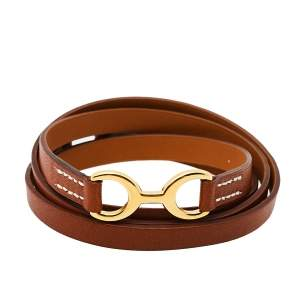 Hermes Tan Leather Pavane Multi Wrap Bracelet