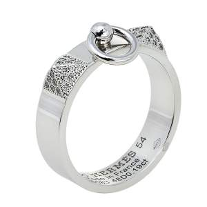 Hermes Collier De Chien Diamond 18K White Gold Ring Size 54