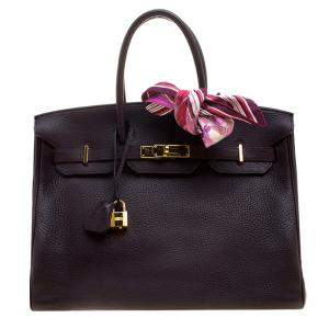 Hermes Bordeaux Togo Leather Gold Hardware Birkin 35 Bag