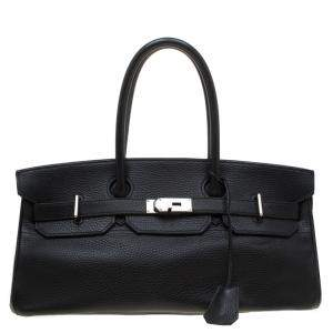Hermes Black Clemence Leather Palladium Hardware Shoulder Birkin 42 Bag
