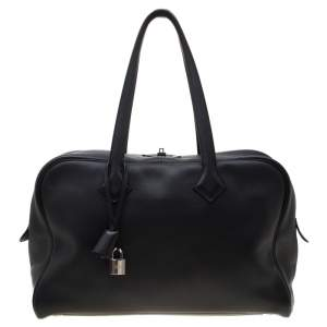 Hermes Black Leather Victoria II Fourre Tout 35 Bag
