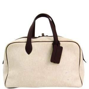 Hermes Dark Brown/Beige Canvas Leather Victoria 43 Boston Bag
