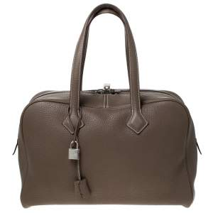 Hermes Taupe Grey Clemence Leather Victoria II Bag