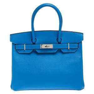 Hermes Blue Paradise Epsom Leather Palladium Hardware Birkin 30 Bag