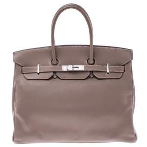 Hermes Etoupe Swift Leather Palladium Hardware Birkin 35 Bag