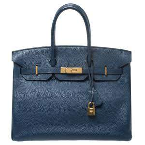Hermes Blue De Malte Togo Leather Gold Hardware Birkin 35 Bag