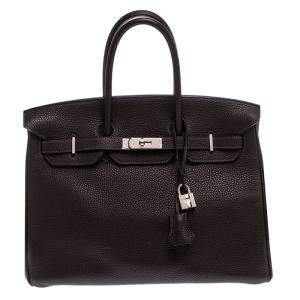 Hermes Ebene Togo Leather Palladium Hardware Birkin 35 Bag