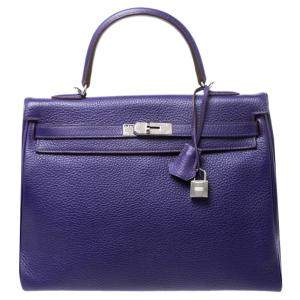 Hermes Ultraviolet Clemence Leather Palladium Hardware Kelly Retourne 35 Bag