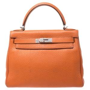 Hermes Potiron Clemence Leather Palladium Hardware Kelly Retourne 28 Bag