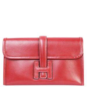 Hermes Burgundy Leather Jige Elan Clutch