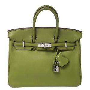 Hermes Apple Green Swift Leather Palladium Hardware Birkin 25 Bag
