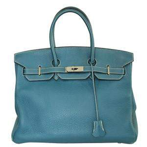 Hermes Thalassa Blue Taurillon Clemence Leather Palladium Hardware Birkin 35 Bag