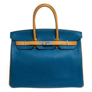 Hermes Blue Hydra/Jaune d'Or Clemence Leather Special Order Birkin 35 Bag
