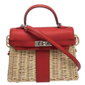 Hermes Rouge Swift Leather and Osier Palladium Hardware Picnic Mini Kelly Bag
