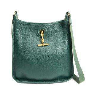 Hermes Green Buffalo Leather Vespa PM Shoulder Bag