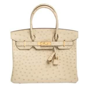 Hermès Parchemin Ostrich Gold Hardware Birkin 30 Bag