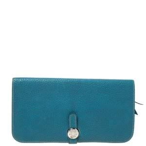 Hermes Blue Vache Liegee Leather Dogon Wallet