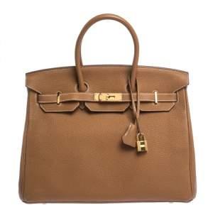 """حقيبة هيرمس """"بيركين 35"""" بإكسسوار ذهبي اللون جلد توغو ذهبي"""