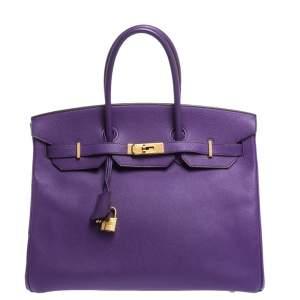 """حقيبة هيرمس """"بيركين 35"""" بإكسسوار ذهبي اللون جلد إبسوم زعفراني"""