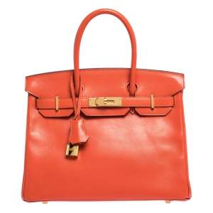 Hermes Capucine Tadelakt Leather Gold Hardware Birkin 30 Bag
