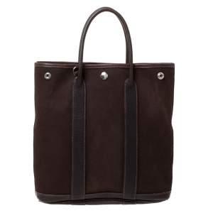 Hermes Moka Negonda Leather and Canvas Garden File PM Bag