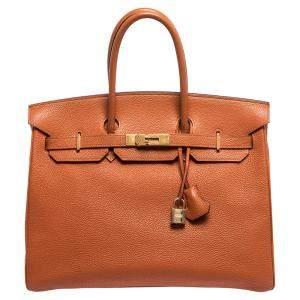 """حقيبة هيرمس """"بيركين 35"""" إكسسوار ذهبي اللون جلد توغو برتقالي"""
