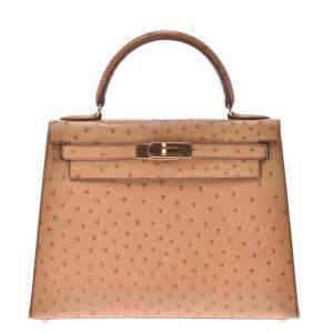 Hermes Chestnut Ostrich Leather Gold Hardware Kelly Sellier 28 Bag