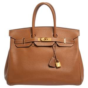 Hermes Gold Clemence  Leather Gold Hardware Birkin 35 Bag