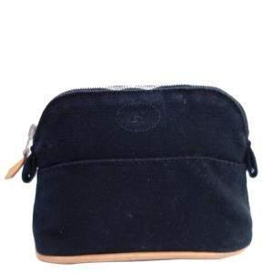 Hermes Black Canvas Bolide Pouch Bag
