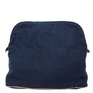 حقيبة هيرمس صغيرة بولايد كانفاس أزرق كحلي