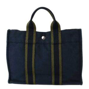 Hermes Navy Blue/Green Canvas Herline PM Tote Bag