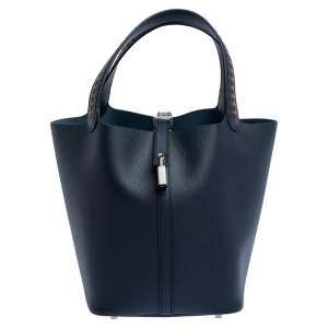 Hermes Blue Nuit Epsom Leather Picotin Lock Tressage MM Bag