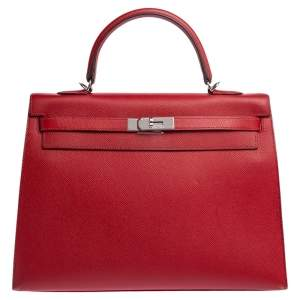 Hermes Rouge Vif Epsom Leather Palladium Hardware Kelly Sellier 35 Bag