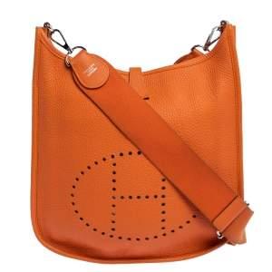 Hermes Feu Clemence Leather Evelyne III PM Bag
