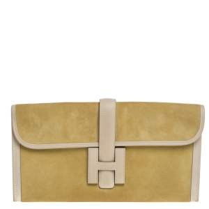 Hermes Mimosa Suede and Swift Leather Elan 29 Jige Clutch