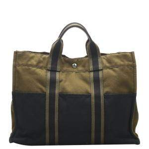 Hermes Black/Brown Canvas Fourre Tout MM Bag